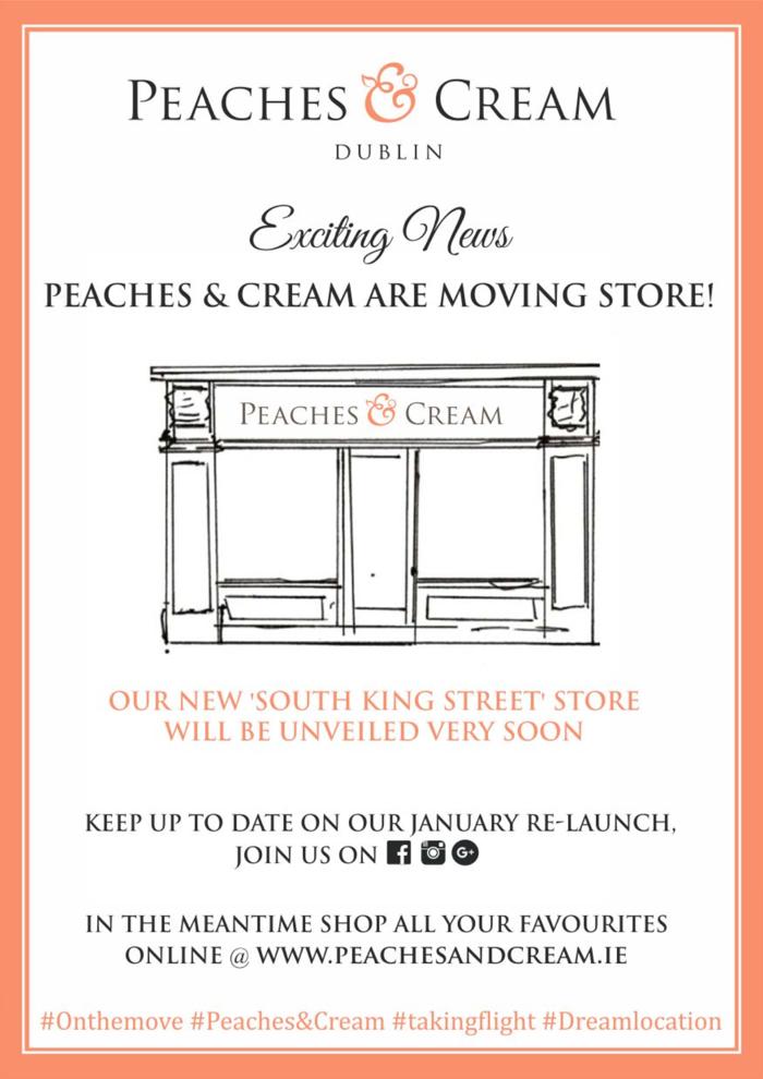 Peaches & Cream are moving store!